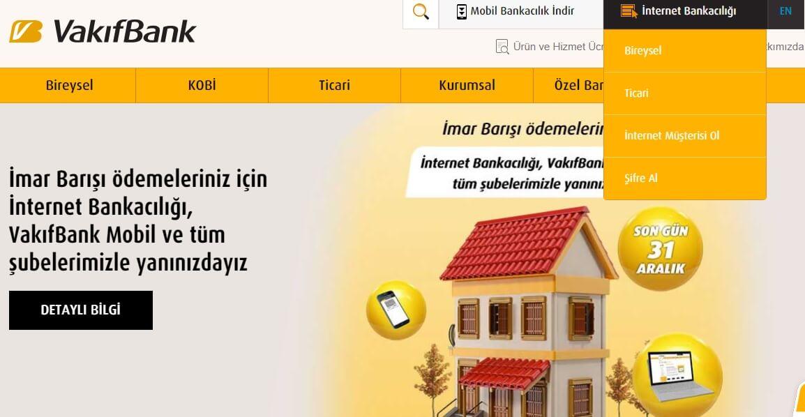 Vakıfbank İnternet Bankacılığı Giriş, Başvuru ve Şifre Alma İşlemleri